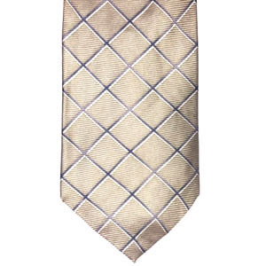 Claybrooke Tan w/Navy/White Stripes 100% Silk Tie